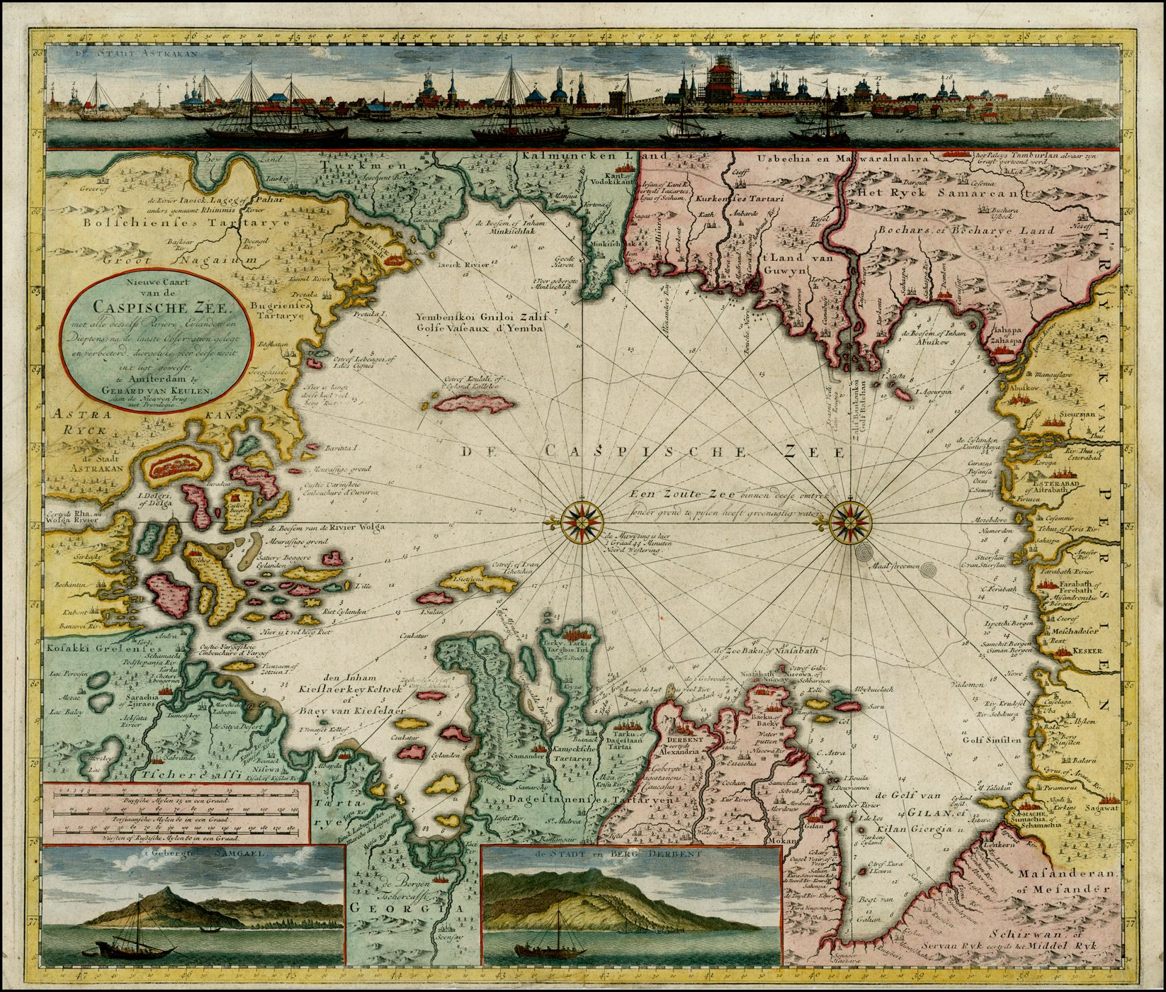 Sea chart of the Caspian Sea, 1720. | Maps | Map globe, Old ...