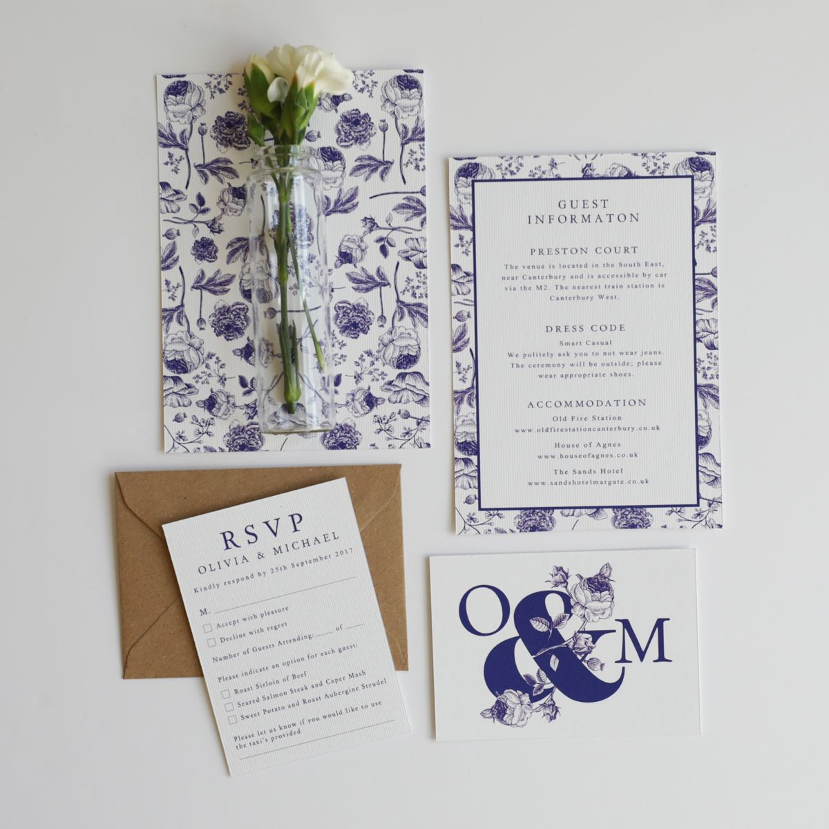 A bold wedding invitation suite with illustrative floral patterns ...