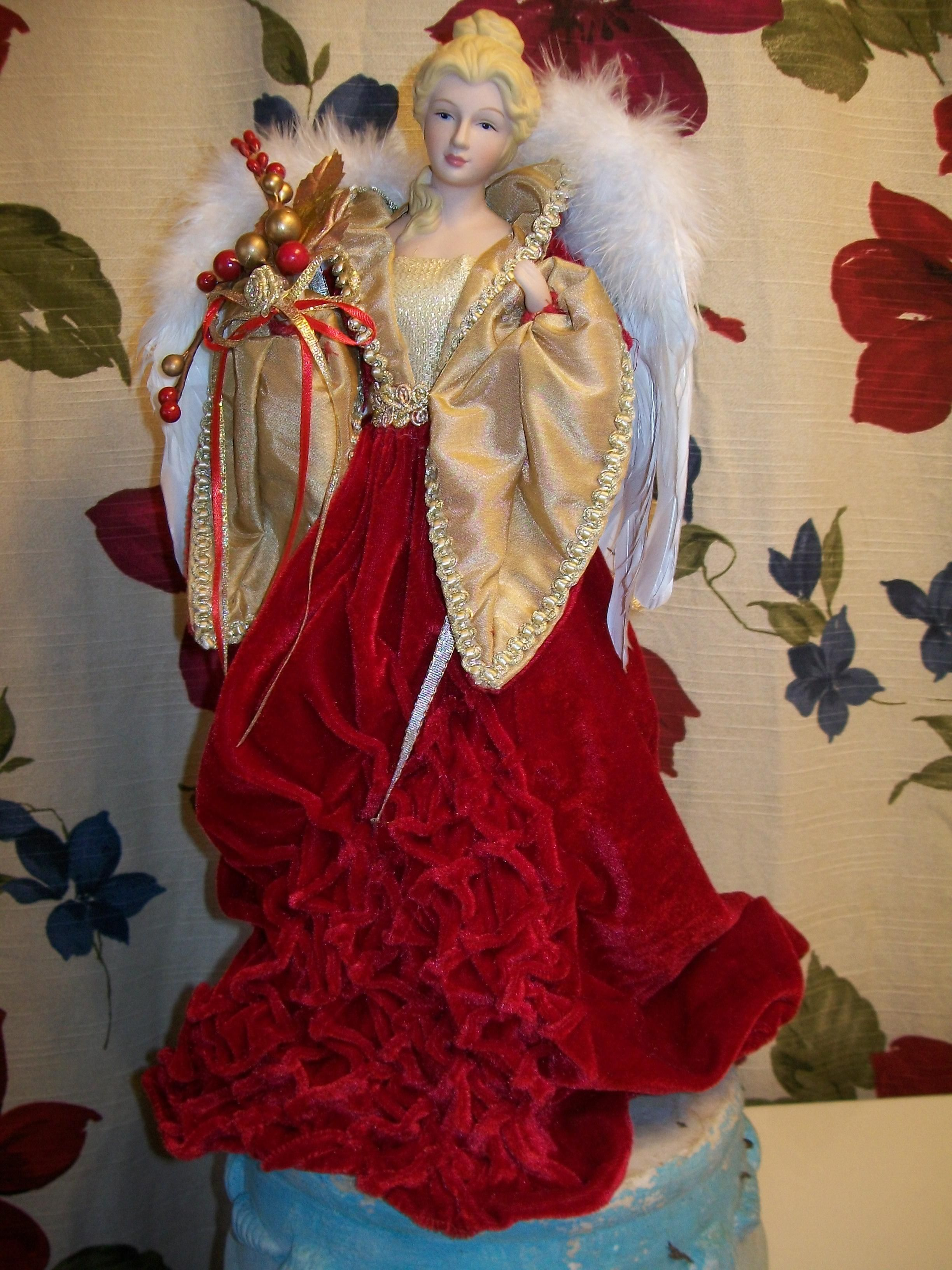 Blonde Angel Tree Topper Table Red Dress Christmas Victorian Nos Victorian Christmas Tree Topper Red Christmas Dress Angel Tree Topper