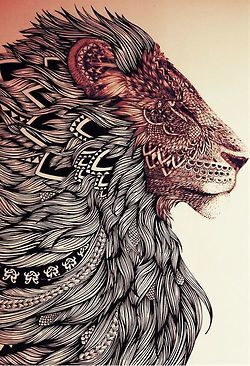 psychedelic peace lion bw creativity henna