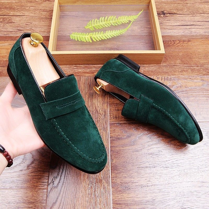 Womens Europe Suede Leather Pointed Hand Pump Shoes Green