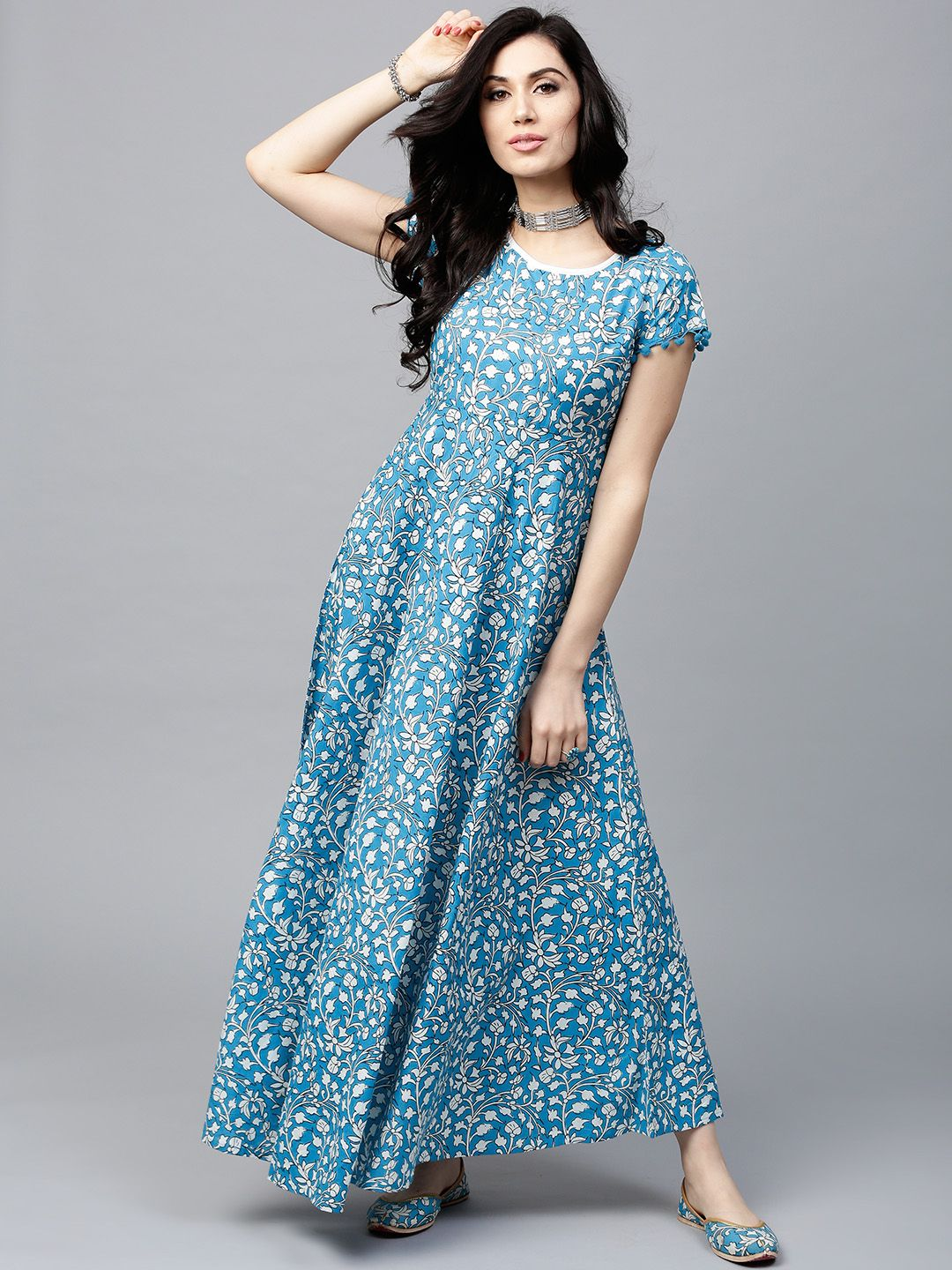 a592c5753 AKS Women Blue & White Printed Maxi Dress - Dresses for Women 2463669 |  Myntra #dresses #floraldresses #afflink #fashion #womensfashion  #maxidresses ...