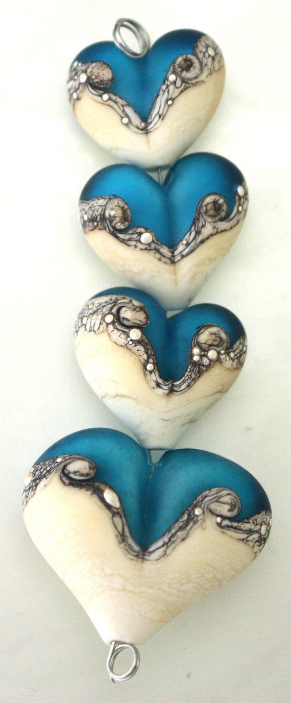 Blue green Handmade lampwork glass pendant bead One of a kind OOAK Ocean jewelry focal by MayaHoney SRA