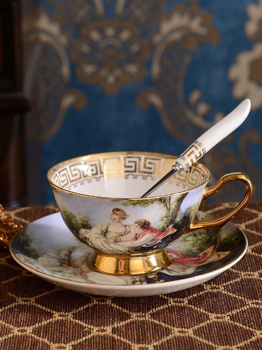 Coffee cup saucer set european creative home ceramic