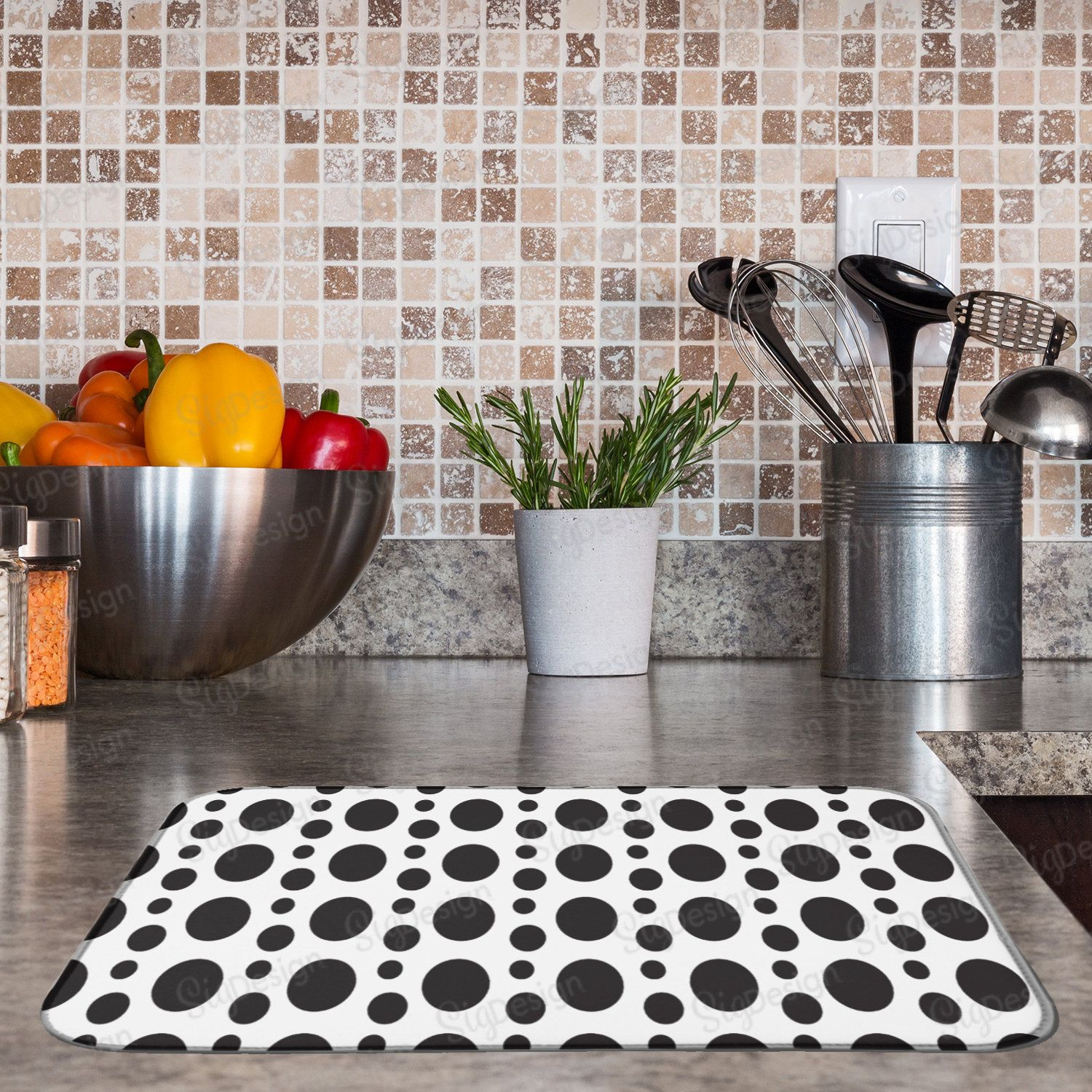 Abstract Circles Dish Drying Mat Water Absorbent Geometric Dish Mat Black And White Kithcen Decor Counter Mat Patterned Dishes Dish Drying Mat Floral Dishes