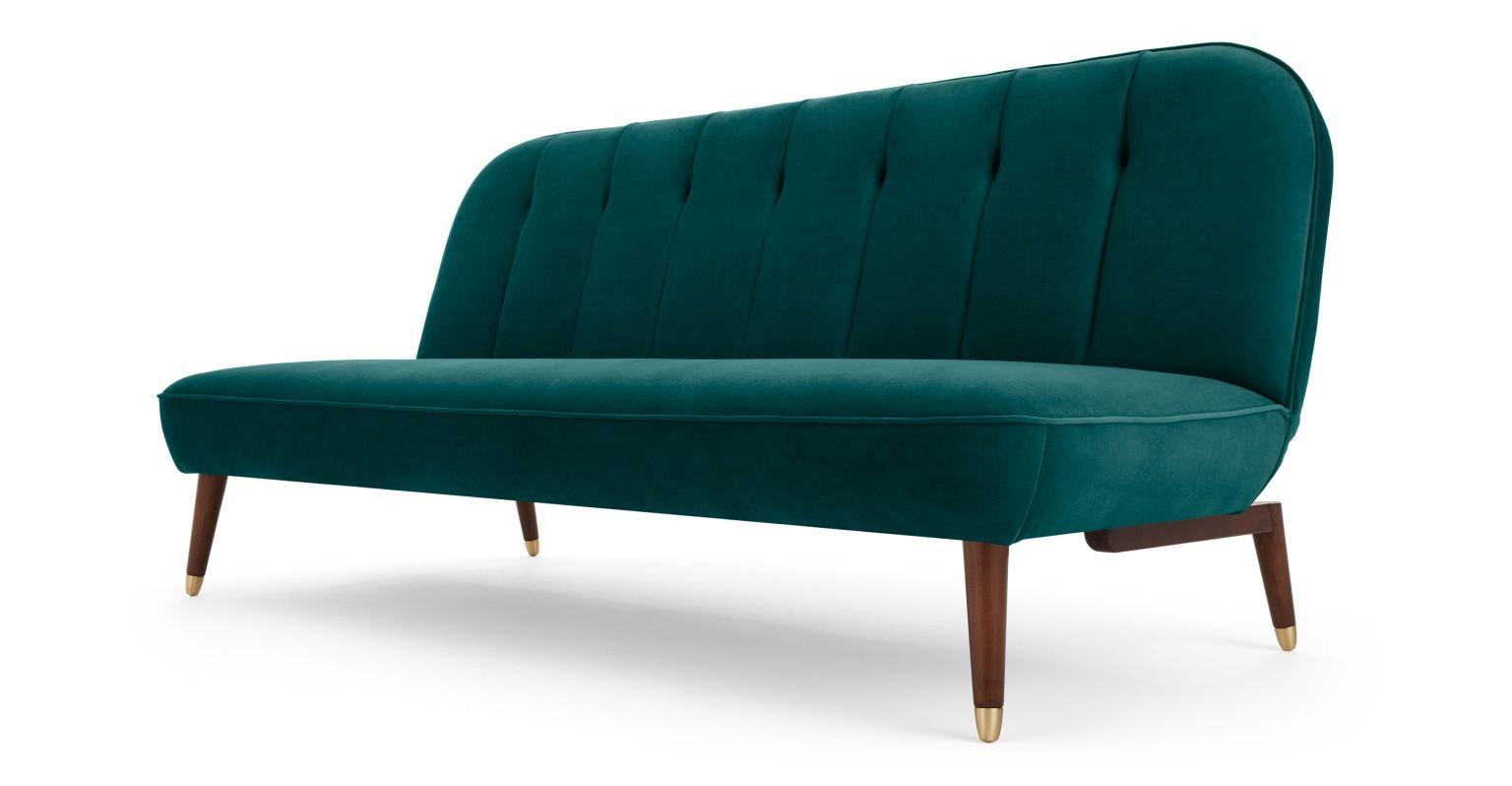 Margot Click Clack Sofa Bed Seafoam Blue Velvet Made Com Sofa Bed Study Furniture Design Sofa