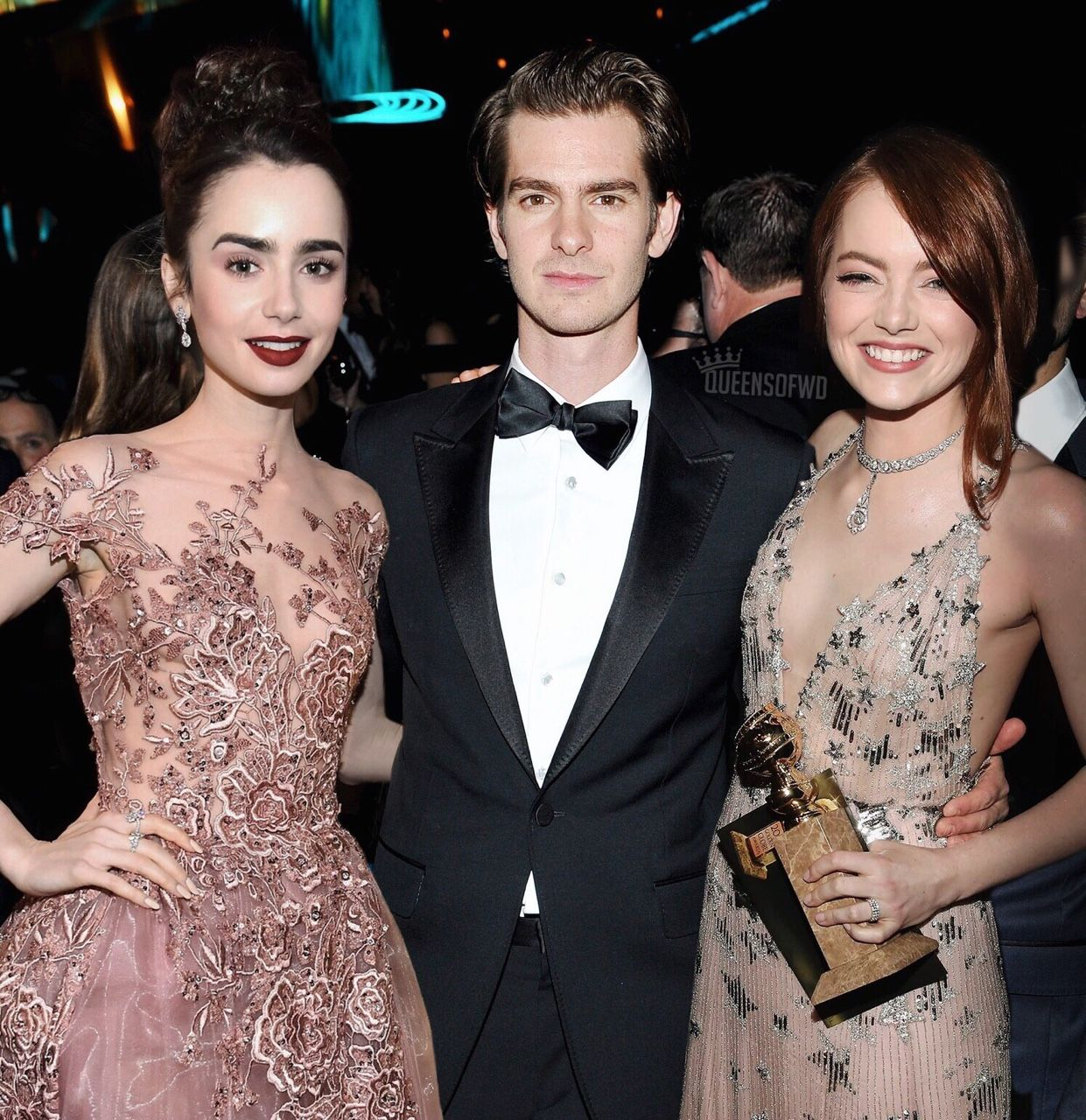Queensofwd Lily Collins Andrew Garfield And Emma Stone