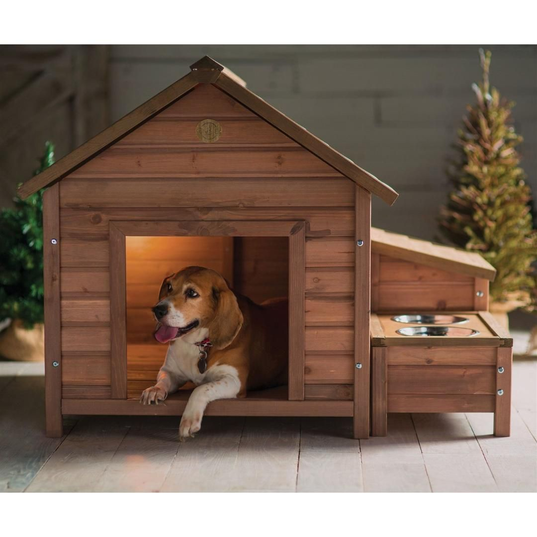 Solid Wood A Frame Outdoor Dog House With Food Bowl And Storage