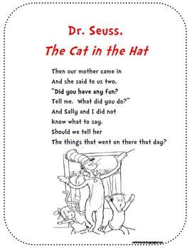 Dr Seuss The Cat In The Hat Poem For Poetry Binders Short Poems For Kids Kids Poems Dr Seuss Quotes
