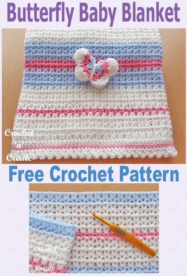 Crochet Butterfly Baby Blanket Free Crochet Pattern | Maggie\'s ...