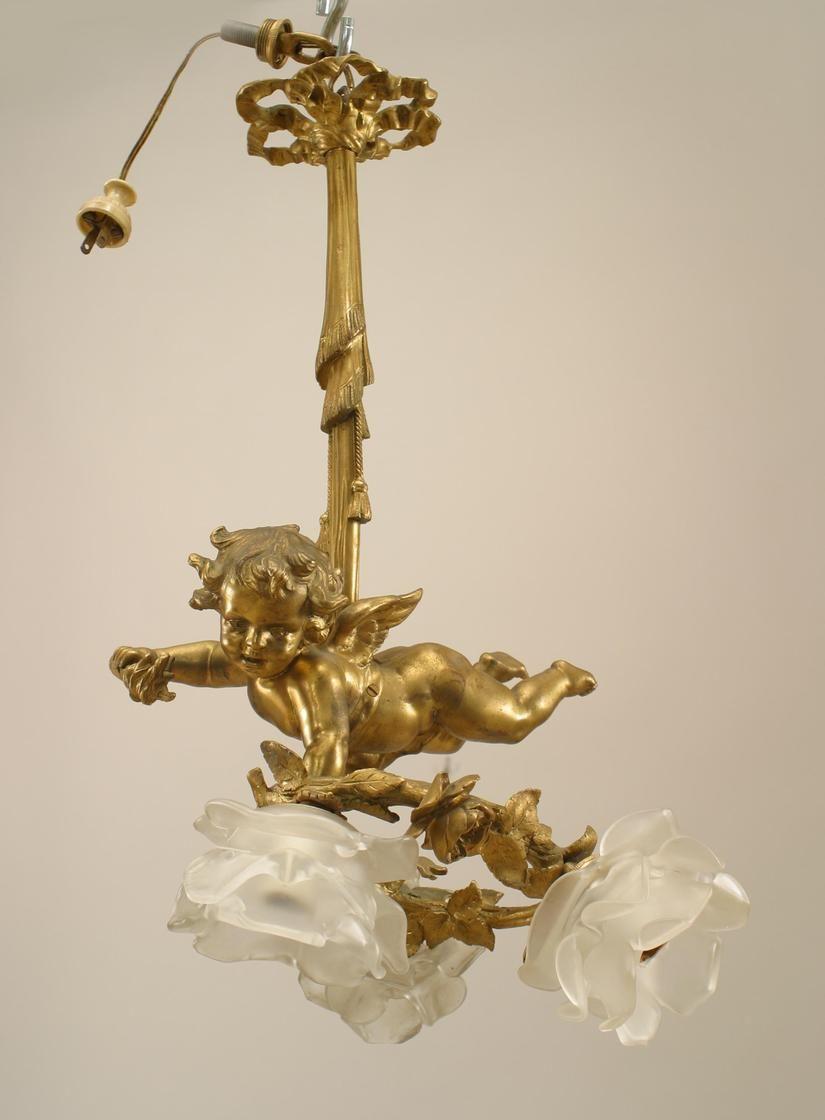 French Victorian Lighting Chandelier Bronze Dore
