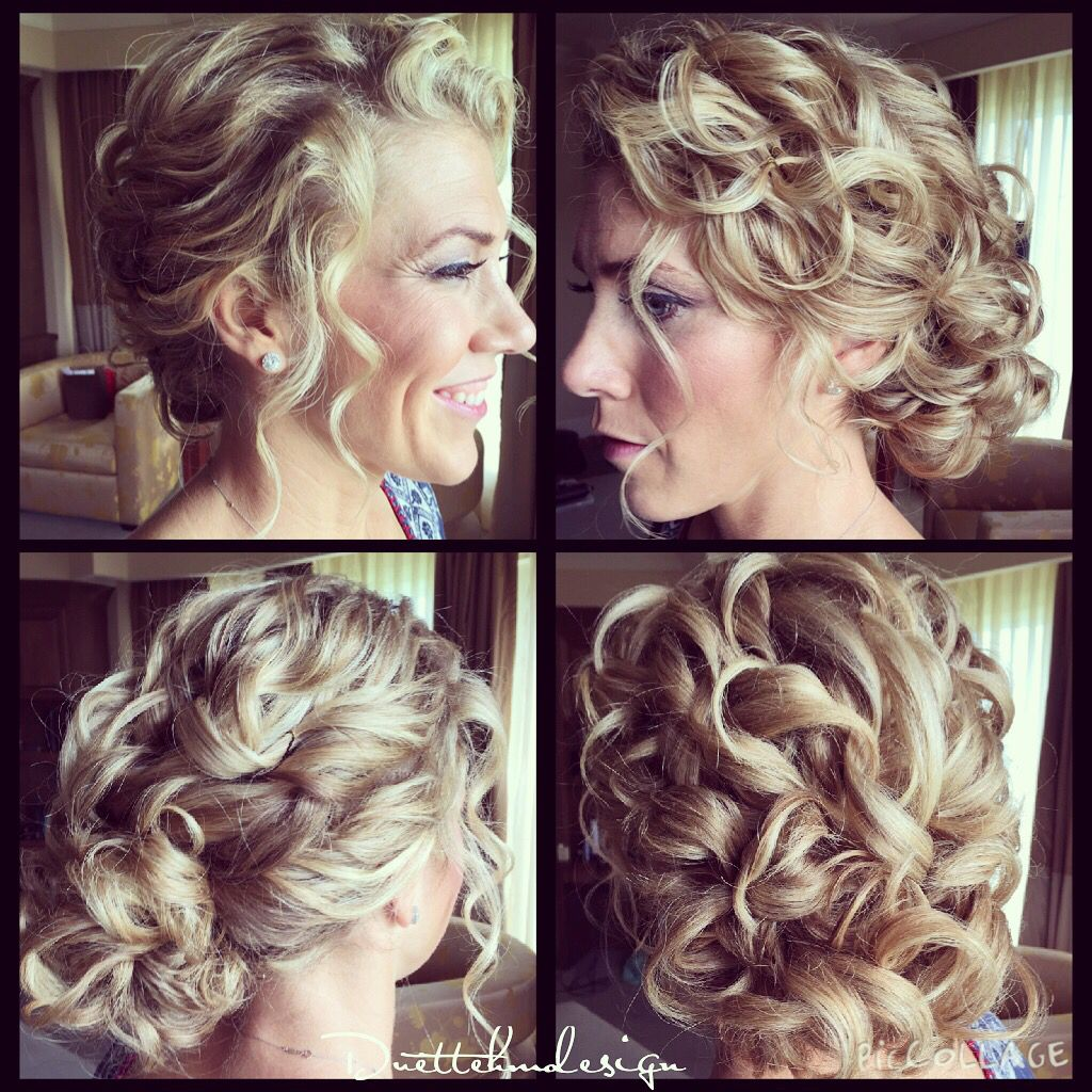 curly updo/ loose / romantic/ curly hair updo / bridesmaid hair