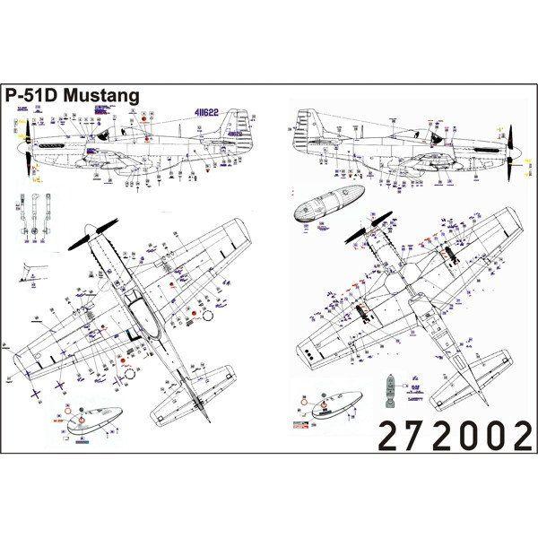 HGW 1/72 scale Wet Transfers Stencils for P-51D, J, K