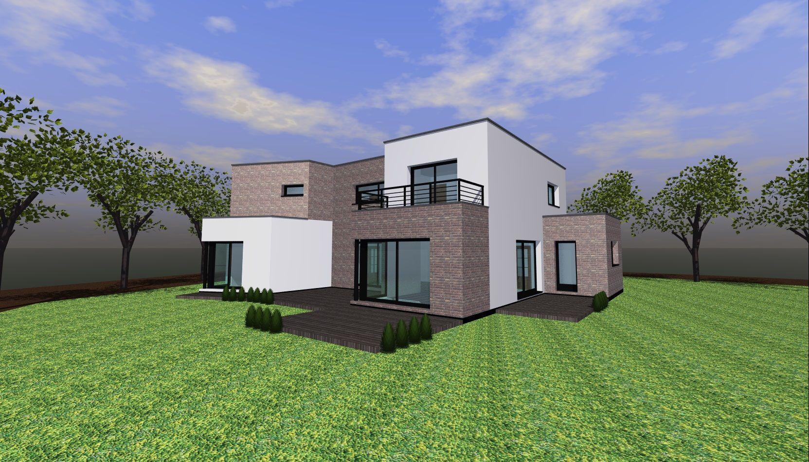 Trendy cubique adapt au terrain maisons buchert with for Prix maison cubique nord