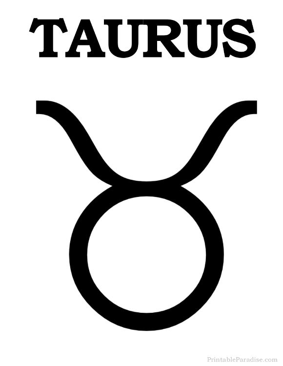 Printable Taurus Zodiac Sign - Print Taurus Symbol ...