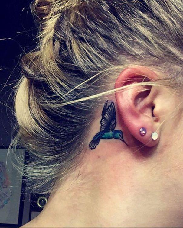Hummingbird Tattoo Behind Ear Hummingbird Tattoo Behind Ear Tattoos Small Bird Tattoos