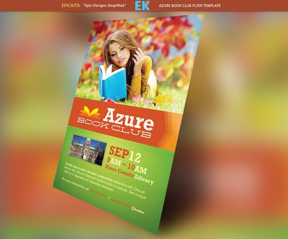 Azure Book Club Flyer Template  Club Flyers Flyer Template And