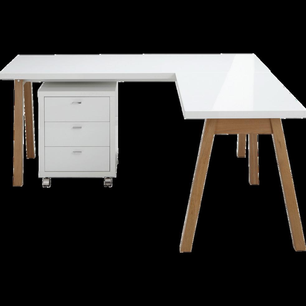 Idée Bureau D Angle bureau d'angle avec piétement en bois massif blanc - oslo