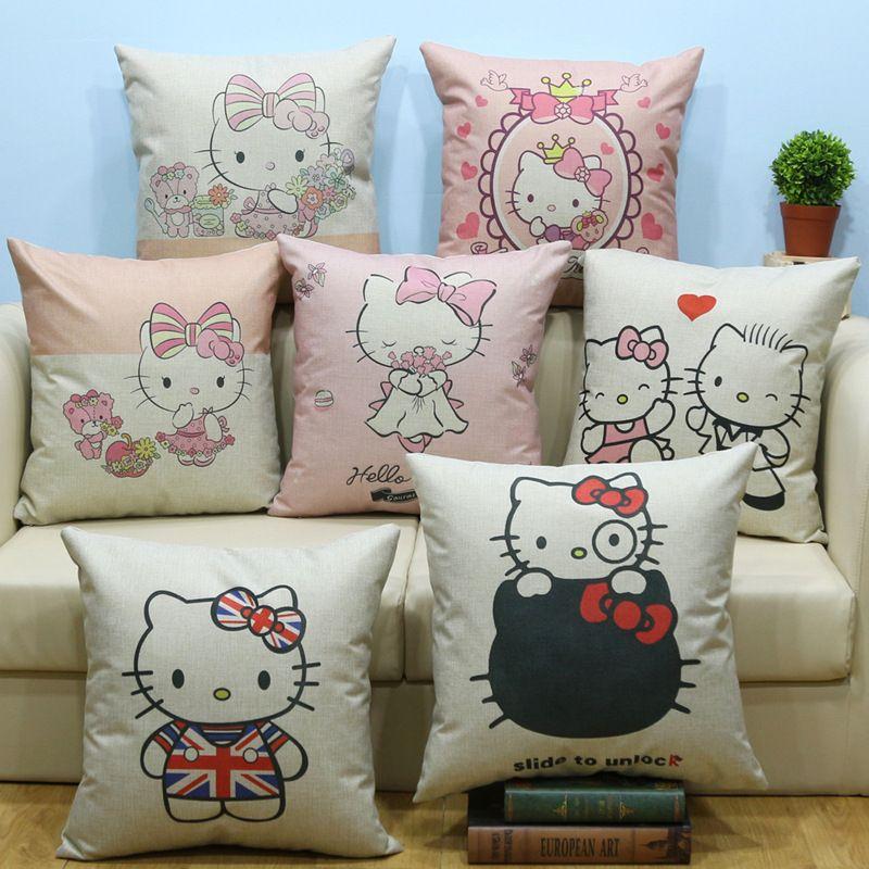 1PC Home Office Sofa  Throw Pillow Cover 45*45cm Hello Kitty Household Pillowcase Cushion Linen Fabric 1C