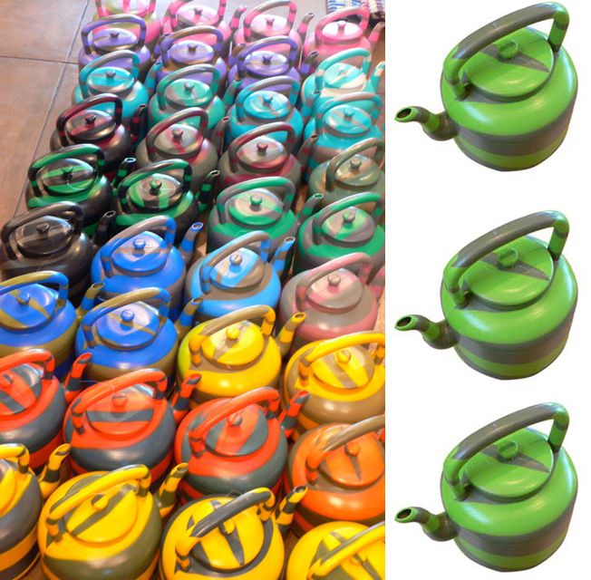 Aliceapproved teapots in an assortment of crayola