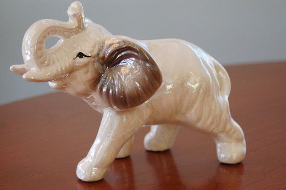 Porcelain elephant figurine opalescent glazed elephant good luck statue africa zoo ceramic elephant animal decor