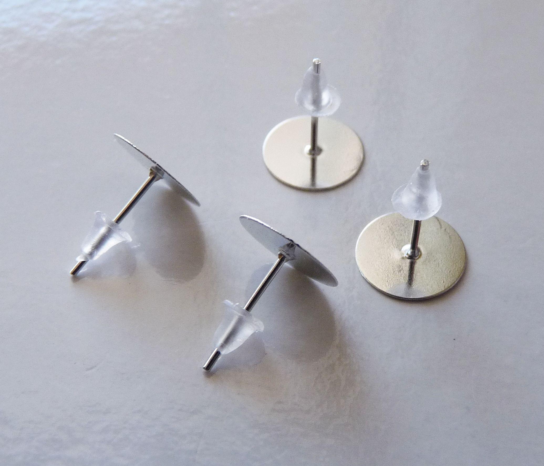 edae44936 100x Earring Studs, 10mm Flat Back Earring Studs, Surgical Steel Ear Studs  Flat Pad Earring Posts, Flat Post Earrings, Earring Base (ES14)