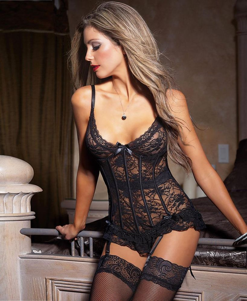 92b9a433233 Brand New Black Stretch And Lace Bustier - 3393 in Corsets   Bustiers