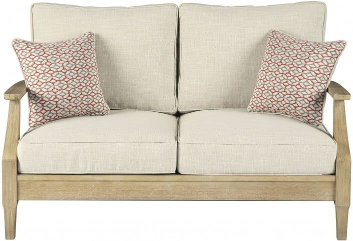 Clare View Beige Outdoor Loveseat with Cushion in 2020 ... on Clare View Beige Outdoor Living Room id=91871
