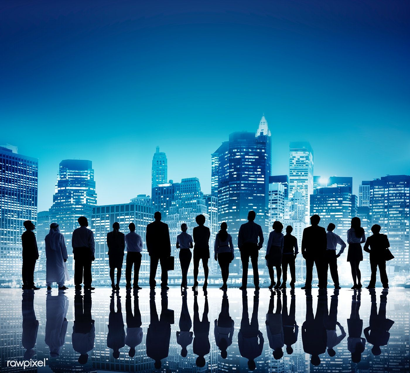 Download Premium Psd Of Business People Standing Silhouette On