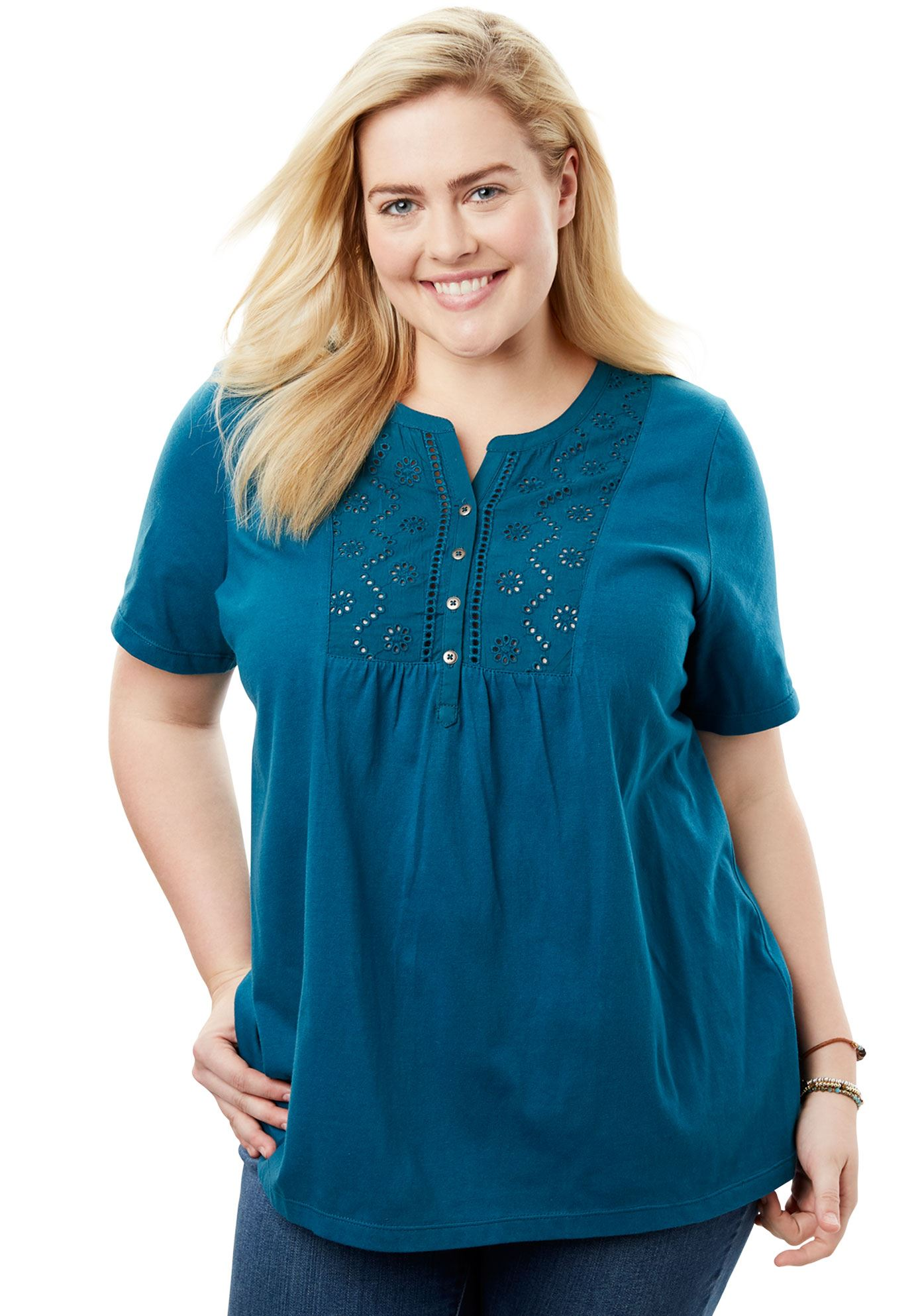 a2ddd734ae4 Top in soft knit with eyelet embroidery - Women s Plus Size Clothing ...