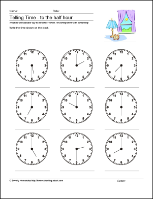 Worksheets Telling Time To The Hour And Half Hour Worksheets 10 worksheets to help your child tell time by half hour telling math what is it