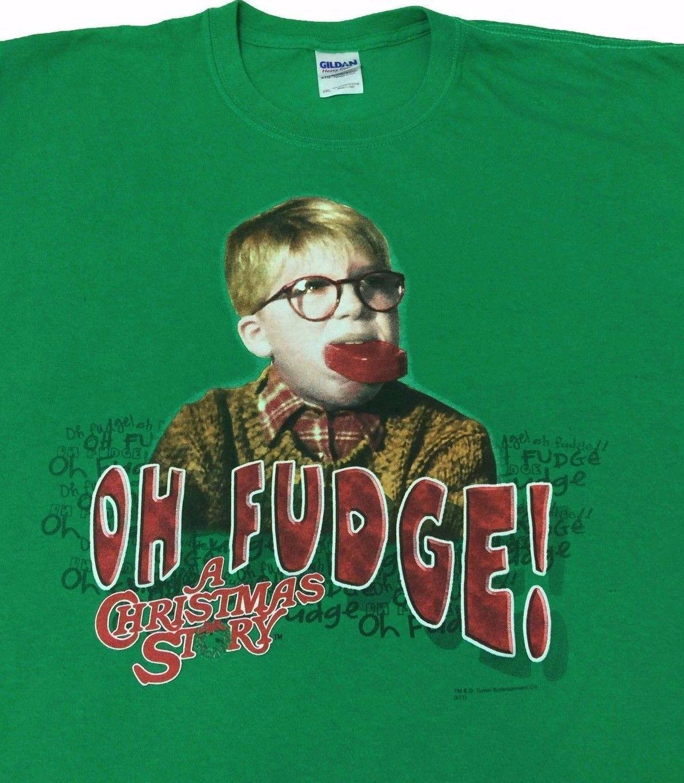 A Christmas Story Ralphie OH FUDGE! Men\'s T-Shirt Size XXL Green 2XL ...