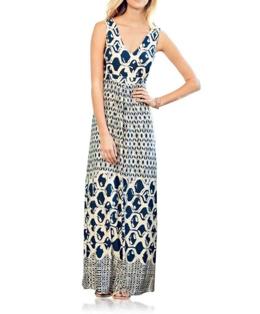 Heine Damen Maxikleid, blau-weiß, Größe 38   Kleidung Beispiele ... 5d7a4d8db4