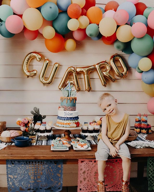 Birthday party ideas, fiesta, fourth birthday, balloon arch , boys birthday party , @laurenpeelman