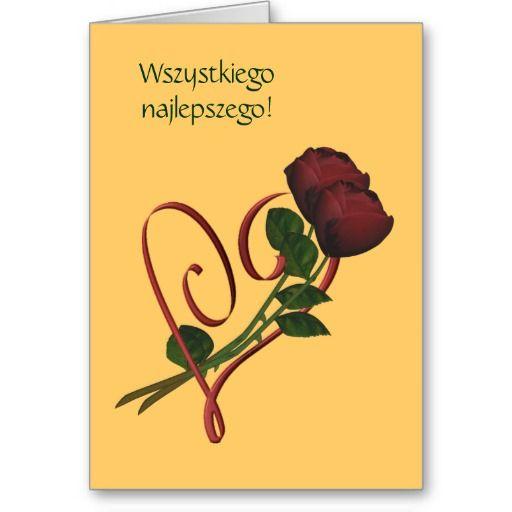 Polish Birthday Card Sto Lat Red Roses Heart Zazzle Com Birthday Cards Happy Birthday Greeting Card Birthday Greeting Cards