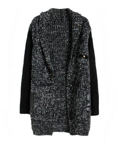 Contrast Open Front Woollen Yarn Longline Cardigan