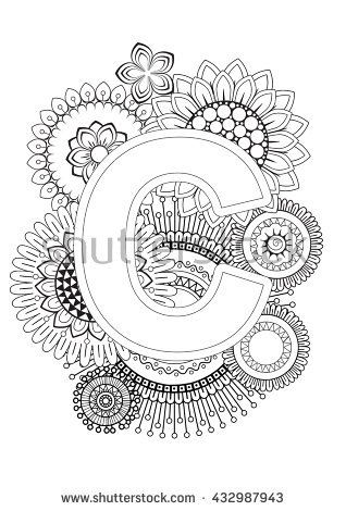 Doodle Floral Letters Coloring Book For Adult Mandala And Sunflower ABC Isolated Vector Elements Capital Letter English Alphabet