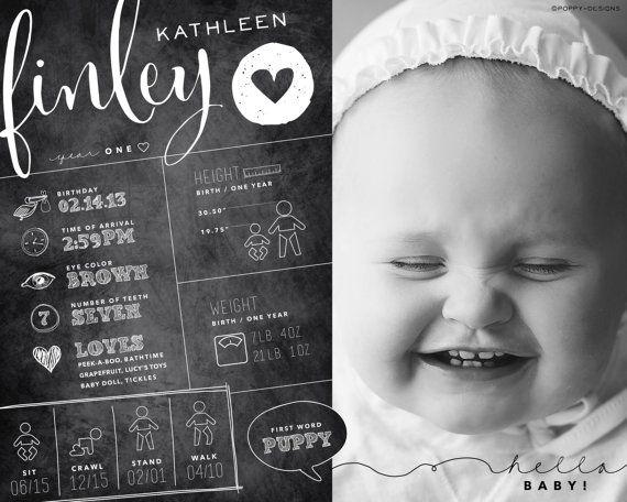 Wie alle Eltern Ihnen sagen wird, vergeht im ersten Lebensjahr Ihres Babys kostbaren SO schnell. Dieses lustige Infografik zeigt ein Lieblingsfoto von Ihr kleiner Liebling zusammen mit den großen Meilensteine (und einige andere Fakten) Ihr Baby das erste Jahr. Eine perfekte Andenken!  Größe: 8 x 10 Letzte Datei-Typ: Digital (JPEG & PDF)   SO FUNKTIONIERTS:  1. kaufen Sie dieses Angebot. (2) eine e-mail an mich (Ami bei Mohn-Designs Dot Com) Folgendes:  * hochauflösendes Bild des Babys (Fa...