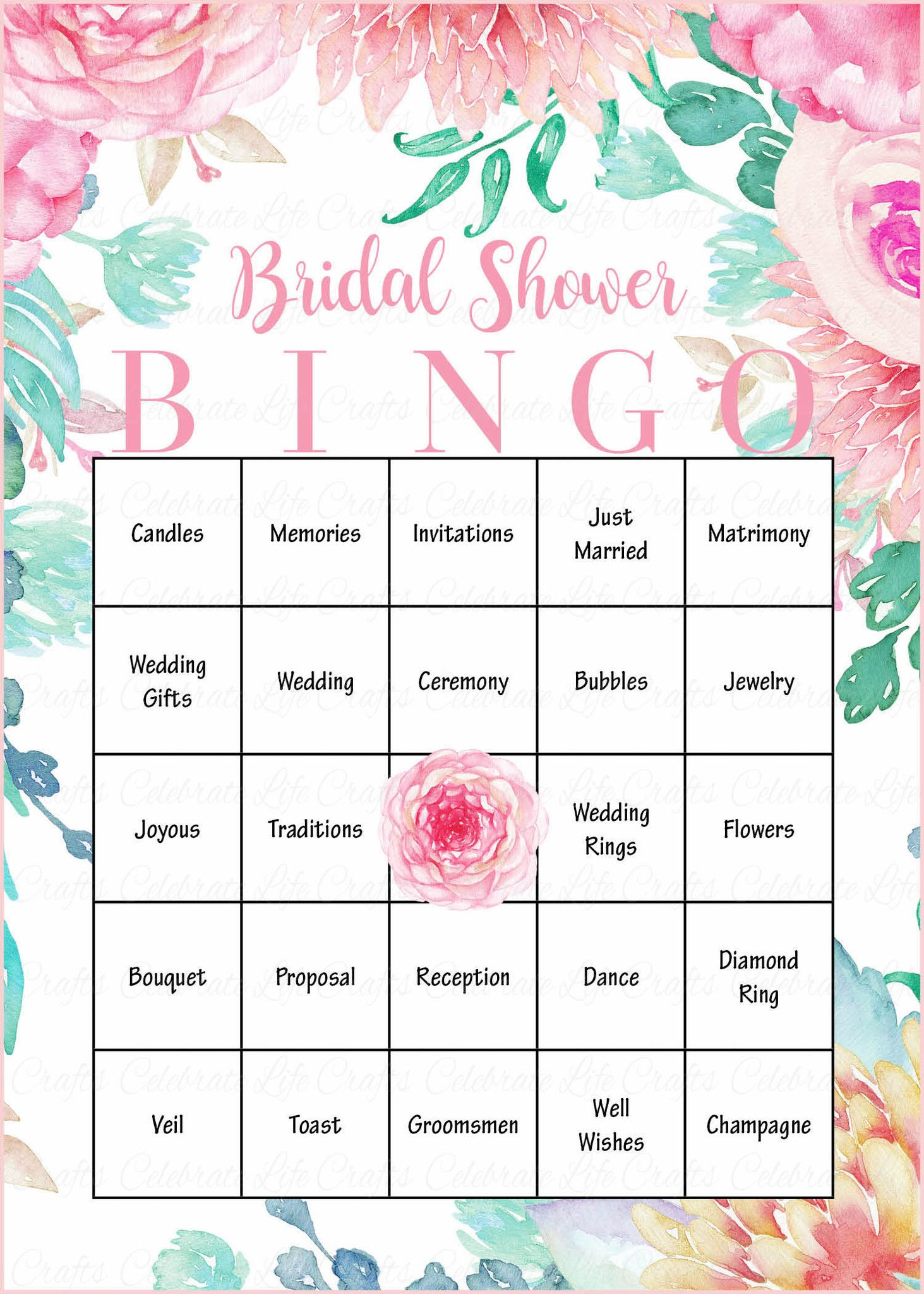 bridal shower bingo is a fun shower game that guests of all ages will love our beautiful pink rose floral design will add an elegant touch to your bridal