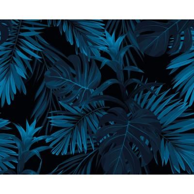OhPopsi Indigo Tropical Pattern Wall Mural WALS0438 - The Home Depot