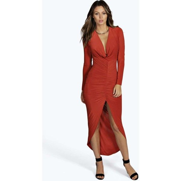 Boohoo Night Sara Slinky Ruched Long Sleeve Maxi Dress ($35) ❤ liked on Polyvore featuring dresses, gowns, rust, red sequin dress, long sleeve evening gowns, long sleeve sequin gown, sequin gown and red gown