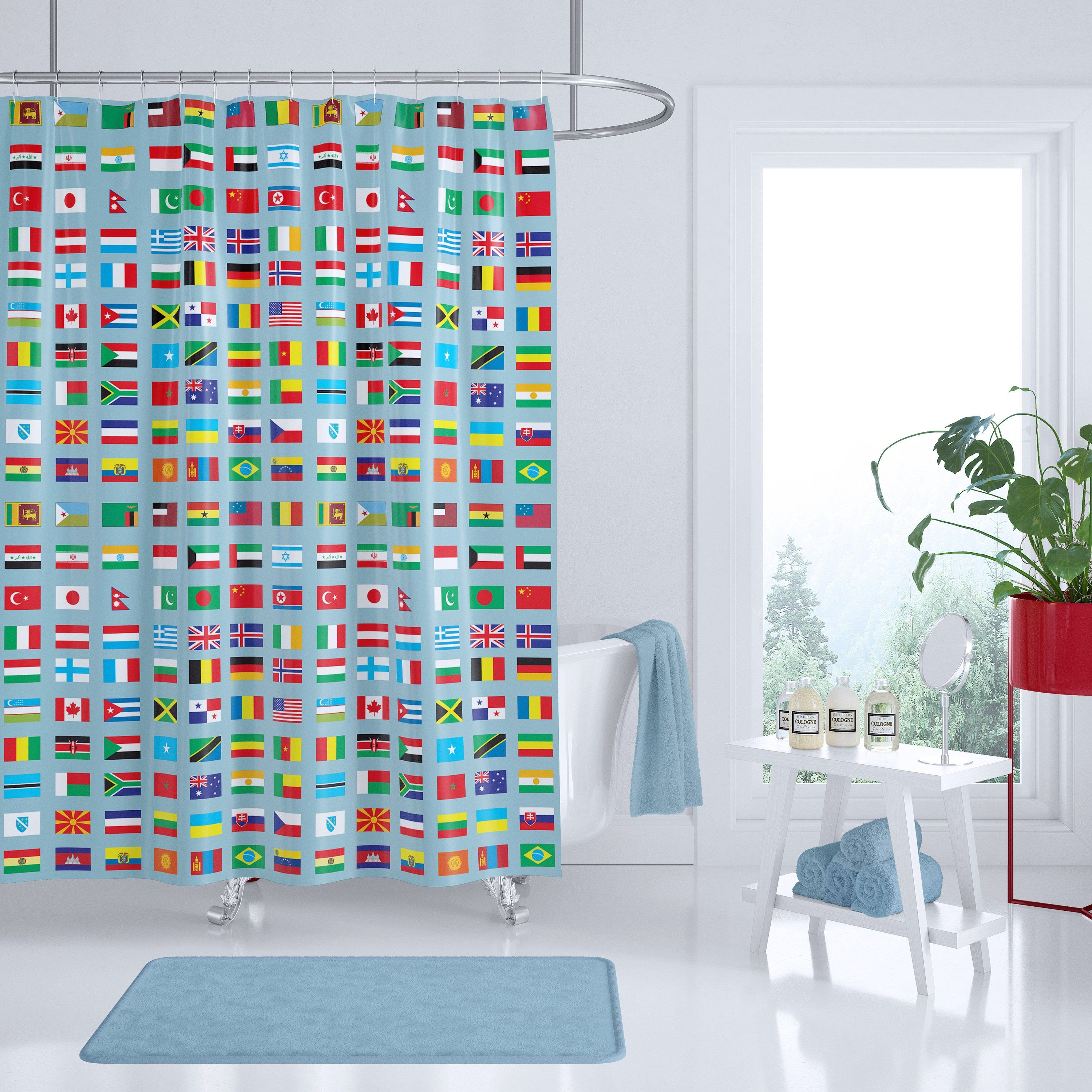 World Flag Shower Curtain Fabric Curtain Colorful Flags Of The