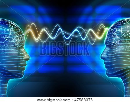 Image of Two People Communicating by Telepathy Digital