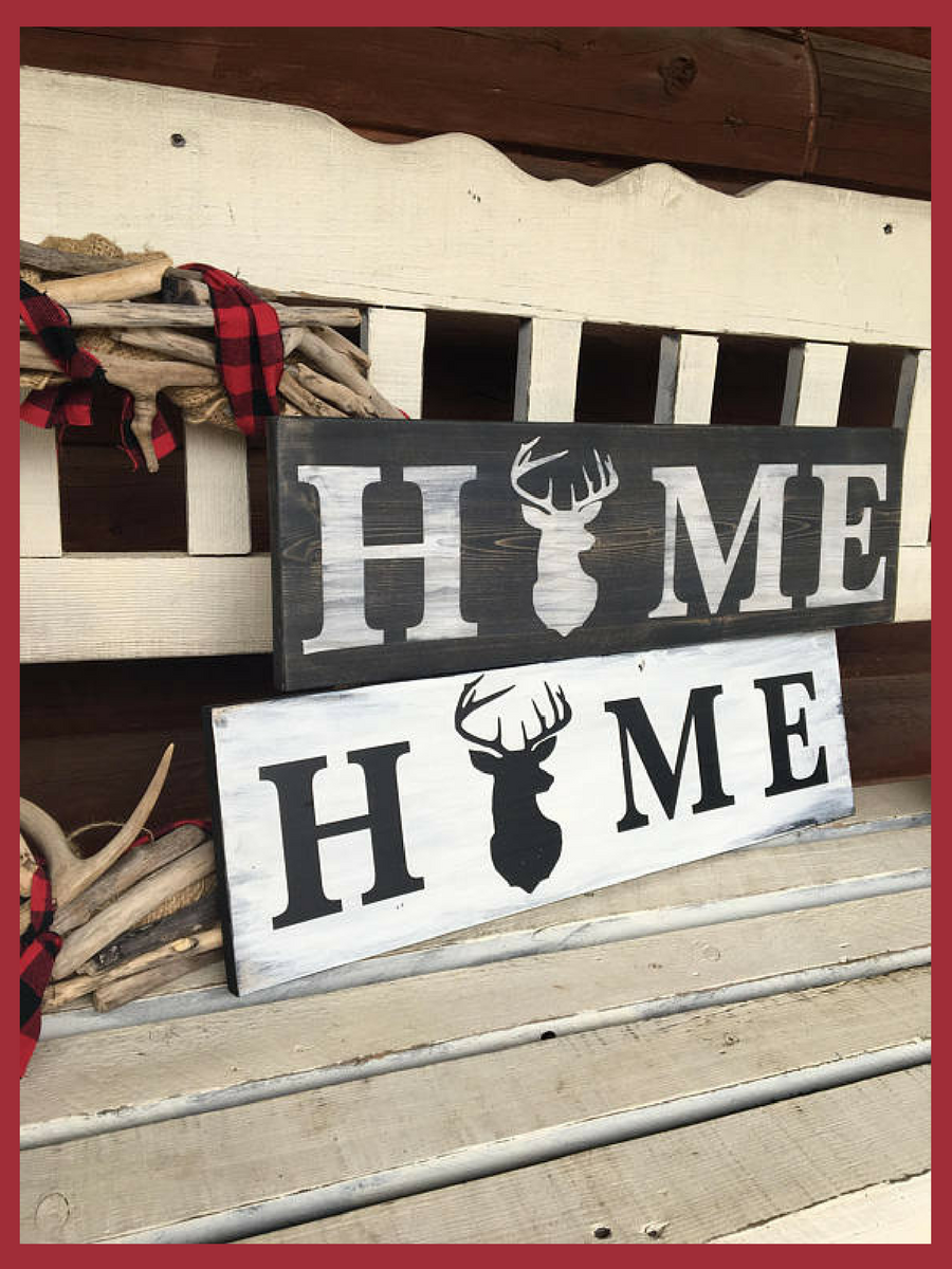 HUNTING HOME DECOR Antler Art Rustic Home Decor Deer Wood Sign Man Cave Nature Woodland Woodsigns
