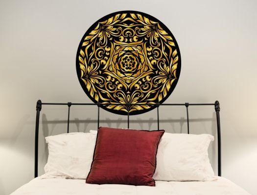 Cute Wandtattoo Mandala Kreis in schwarz und gold