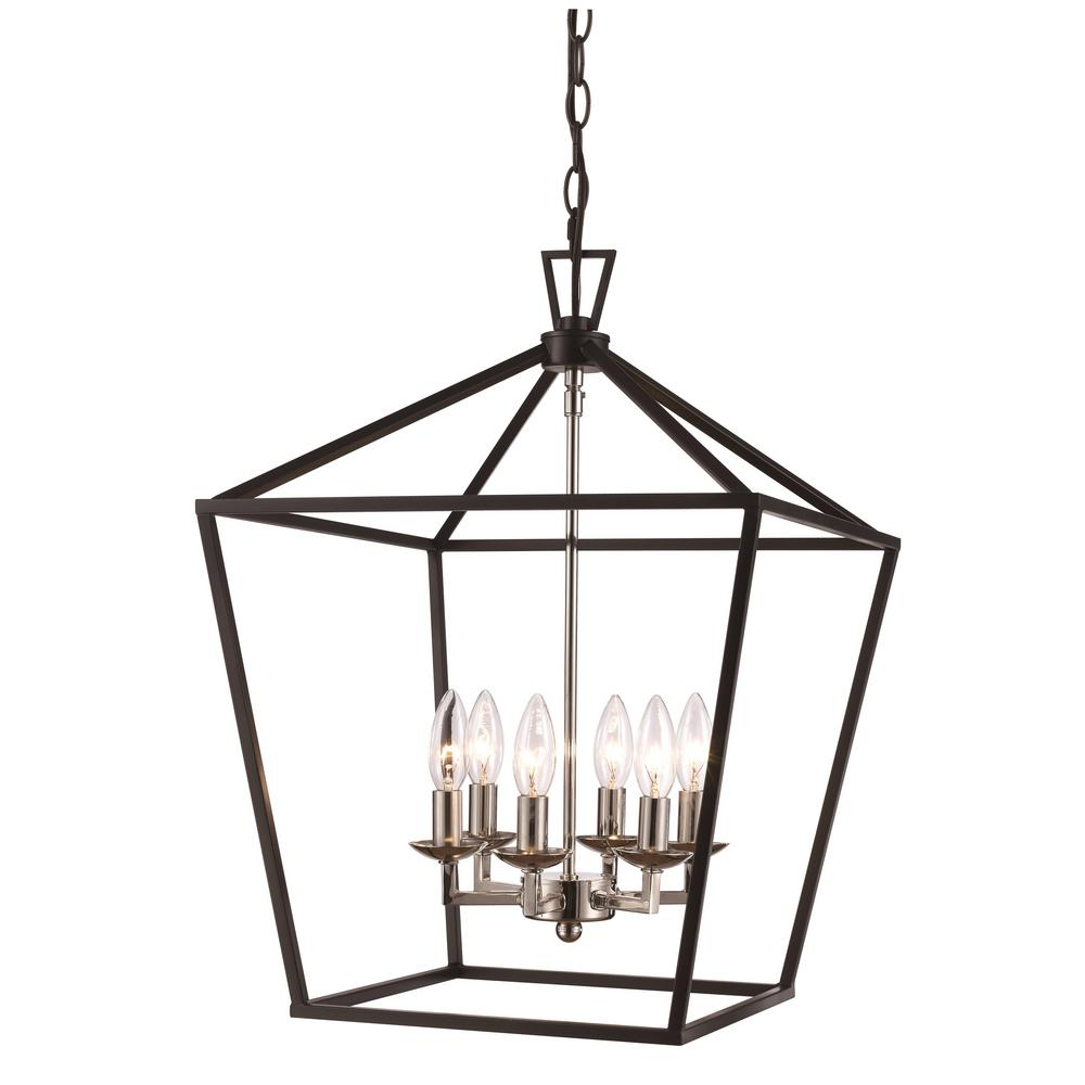 Bel Air Lighting Lacey 6 Light Polished Chrome And Black