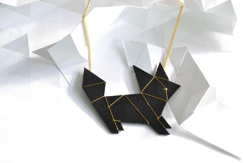Kette Origami Katze // Origami cat necklace by knock-on-wood via DaWanda.com