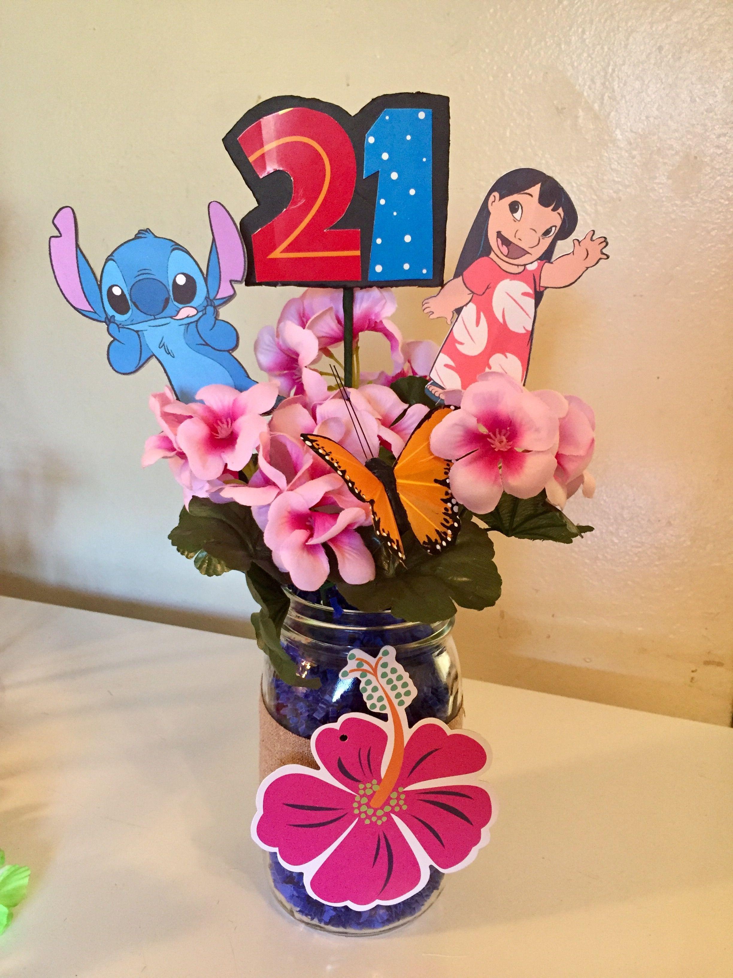 Luau Lilo And Stitch Party Centerpiece Baby Shower Pinterest