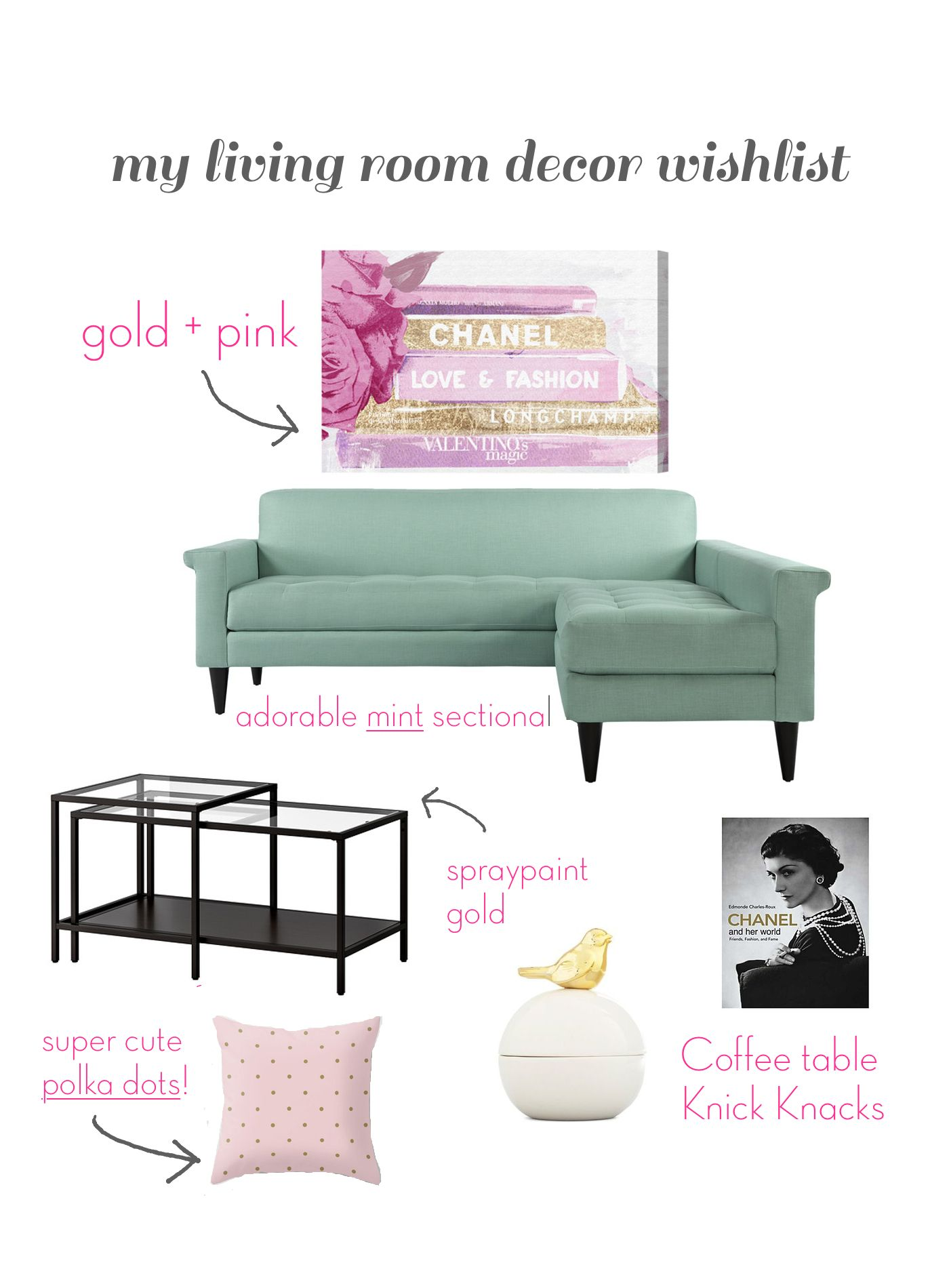 List of living room accessories - The Trendy Sparrow My Living Room Decor Wish List
