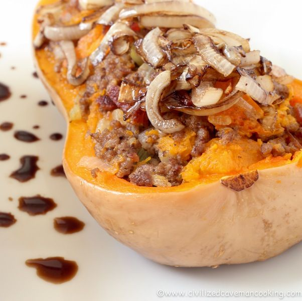 #Bacon Beef Butternut Squash - This was AMAZING! Especially with the balsamic caramelized onion! #civilizedcaveman CivilizedCavemancooking.com